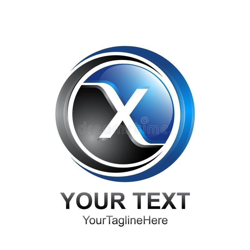 O molde do logotipo da letra inicial X coloriu o sphe preto do círculo do azul 3d ilustração do vetor