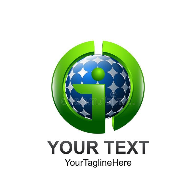 O molde do logotipo da letra inicial GID coloriu o desig azul verde da esfera ilustração do vetor