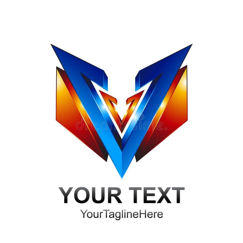 O molde do logotipo da letra inicial V coloriu o DES azul do protetor da laranja 3d ilustração stock