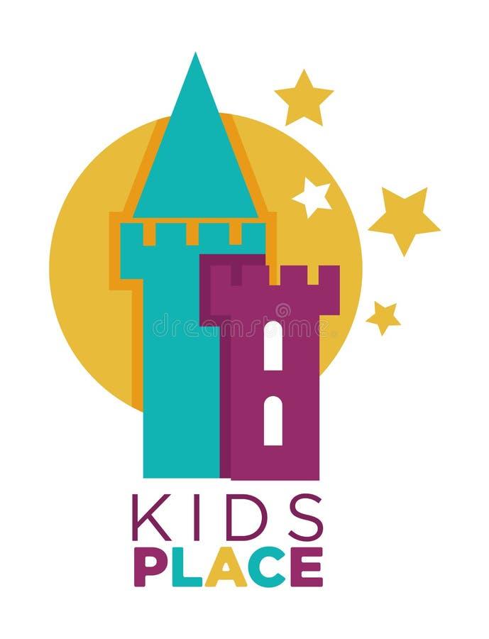 O molde do logotipo da zona das crianças das mãos da palma da criança e o discurso borbulham com letras da cor ilustração stock