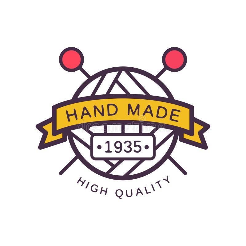 O molde do logotipo, de alta qualidade feitos a mão desde 1935, crachá retro do ofício do bordado, fazendo malha e fazem crochê o ilustração do vetor
