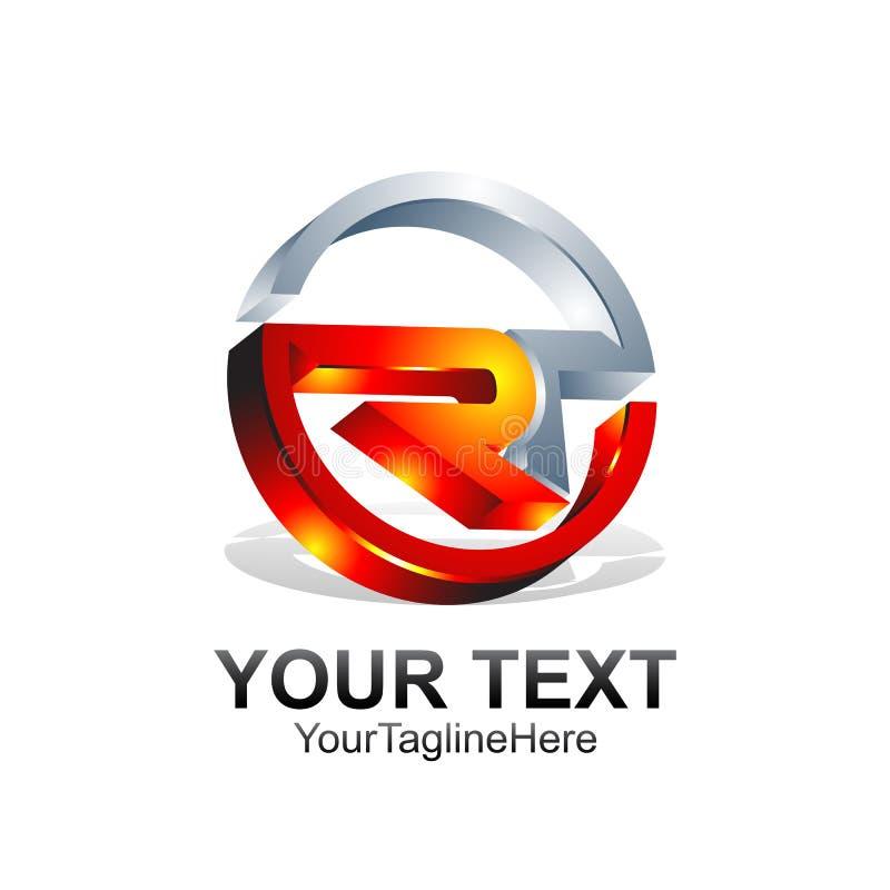 O molde do logotipo de Ror RT da letra inicial coloriu o projeto cinzento alaranjado ilustração royalty free