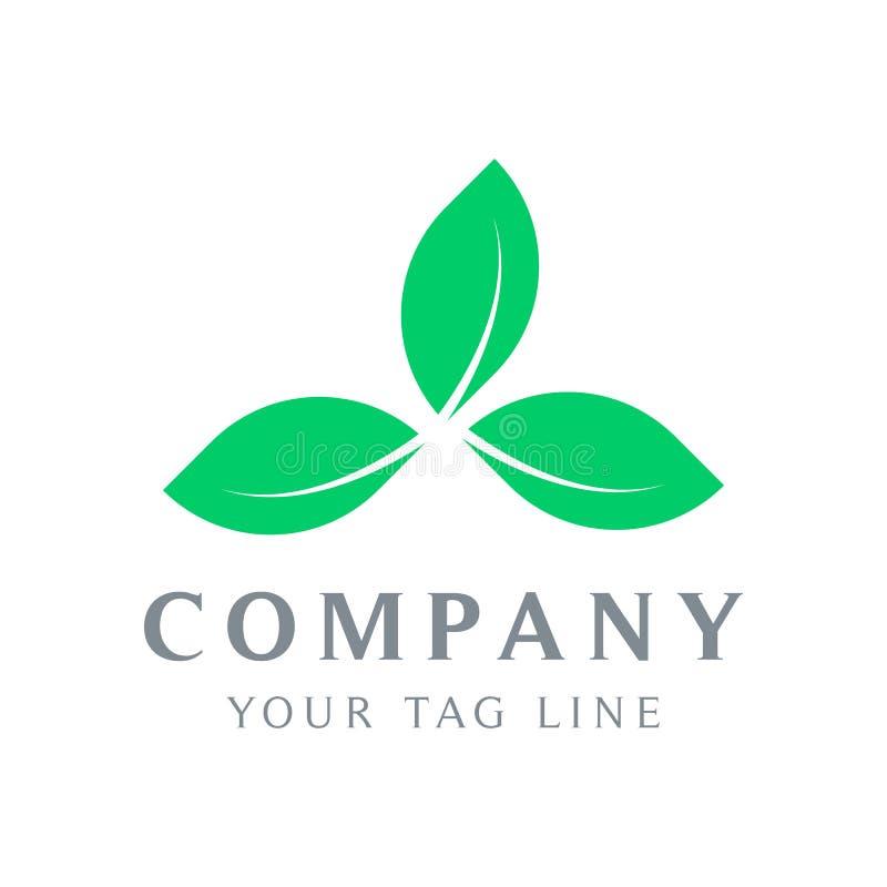 O molde do logotipo de três folhas forma um triângulo ilustração stock
