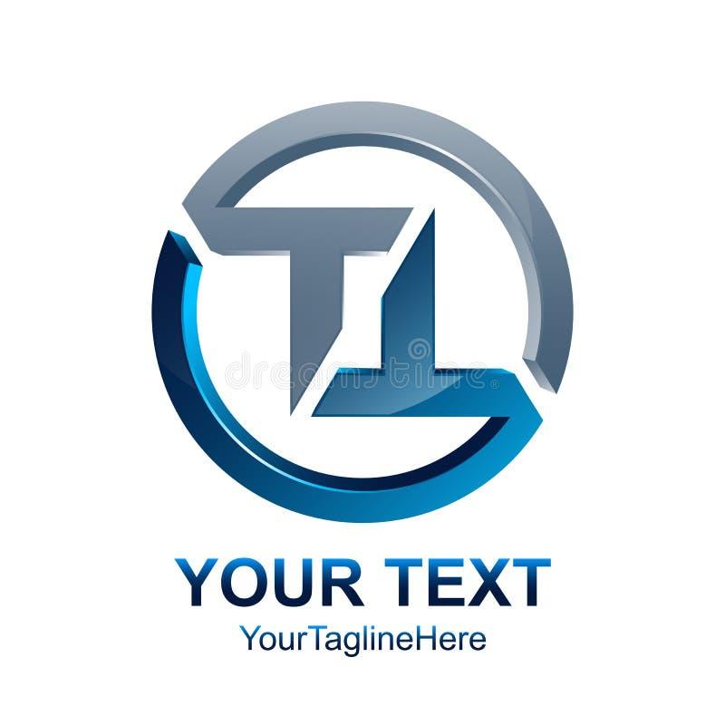 O molde do logotipo do TT da letra inicial coloriu o desig azul de prata do círculo ilustração royalty free