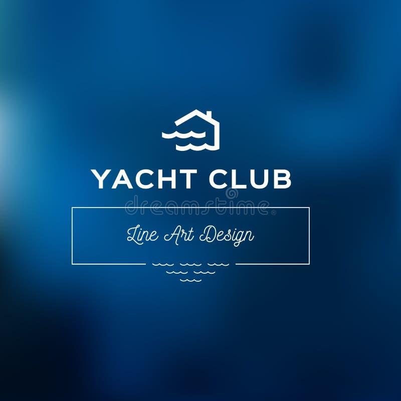 O molde do logotipo do yacht club, azul borrou o fundo com ondas Ícone simples do logotype da casa e das ondas Crachás náuticos ilustração royalty free