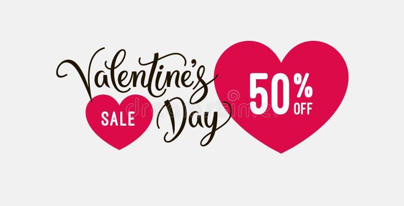 O molde do projeto da bandeira da venda do dia do ` s do Valentim com ícones do coração e a caligrafia text Etiqueta ou etiqueta  ilustração do vetor