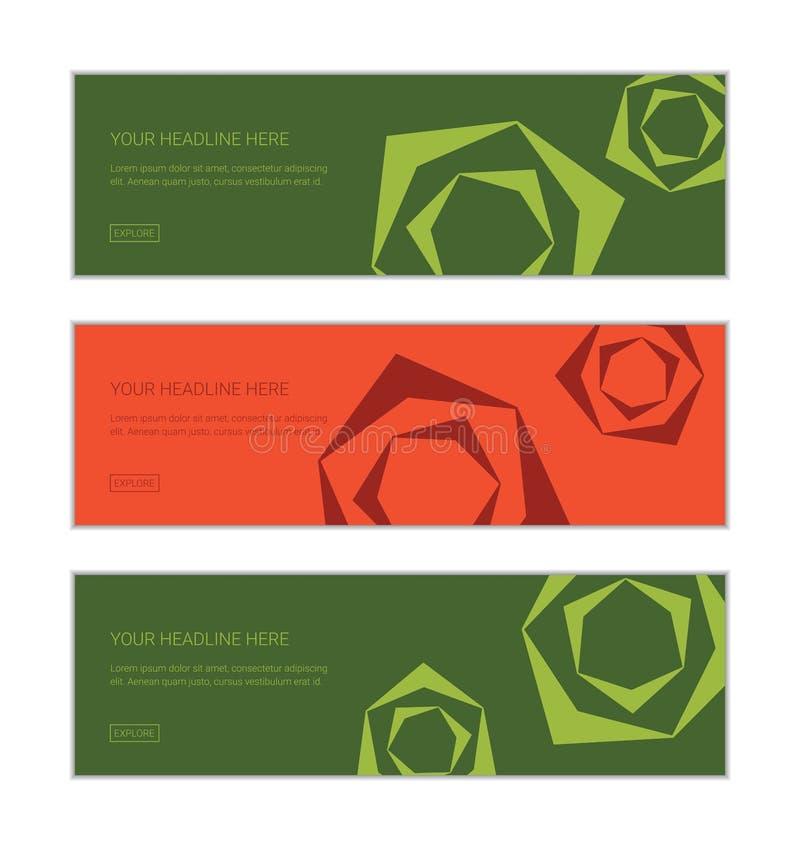 O molde do projeto da bandeira da Web ajustou consistir em testes padrões do fundo da abstração cor-de-rosa da flor ilustração do vetor