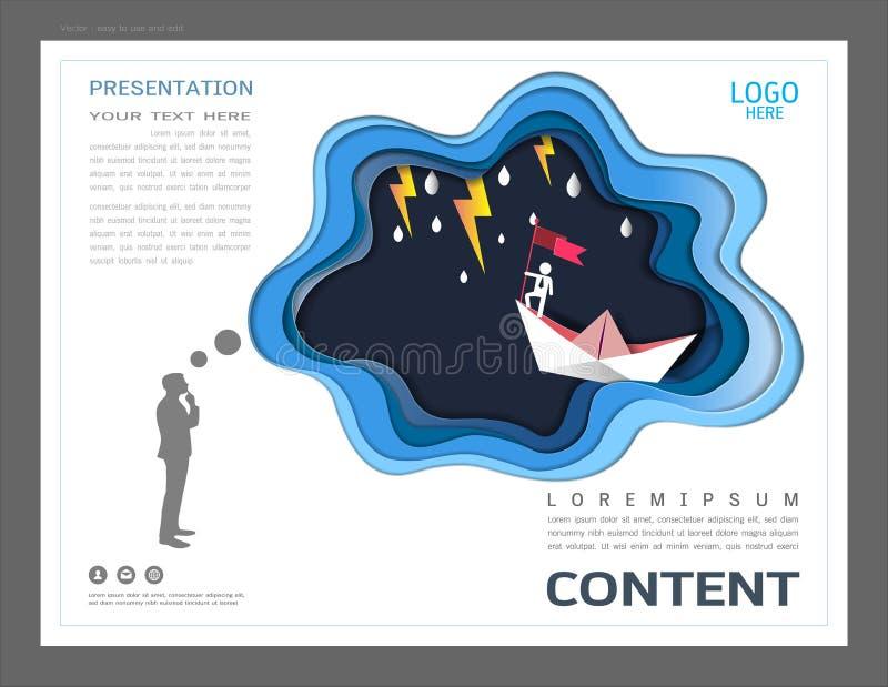 O molde do projeto da disposição da apresentação, o uso na liderança do negócio e o conceito do sucesso, voo plano vermelho no cé ilustração do vetor