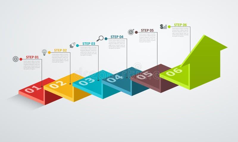 O molde do projeto de Infographic com estrutura acima da seta, conceito da etapa do negócio com 6 opções remenda ilustração do vetor