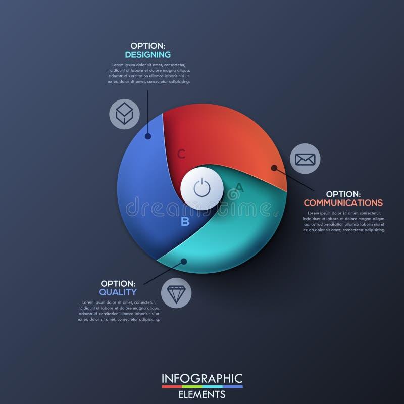 O molde do projeto de Infographic com o círculo dividido por 3 rotulou setores e a tecla 'Iniciar Cópias' espirais no centro ilustração do vetor