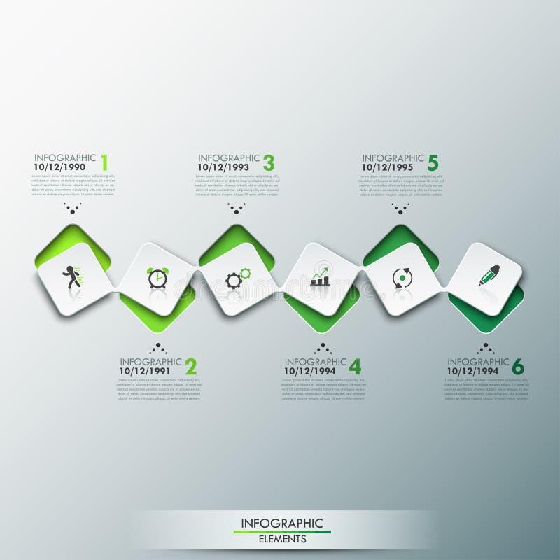 O molde do projeto de Infographic com o espaço temporal e 6 conectaram elementos quadrados na cor verde foto de stock royalty free