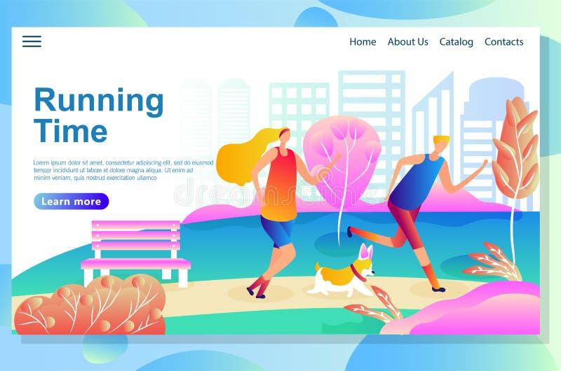 O molde do projeto do página da web mostra o homem e a mulher que correm no parque com um cão Treinamento físico da manhã ilustração royalty free