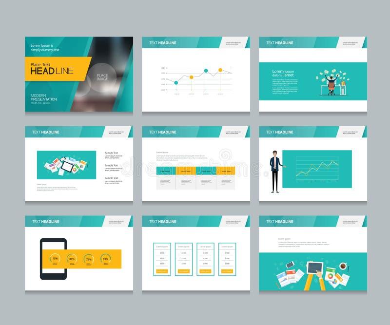 O molde do projeto para a apresentação do negócio com elementos infographic projeta ilustração stock