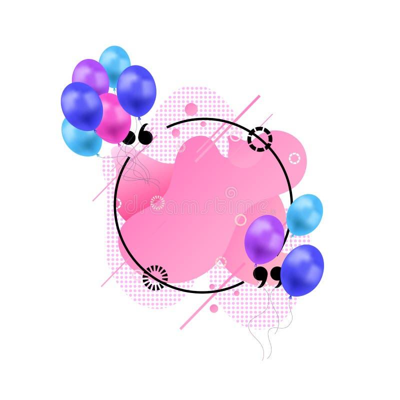 O molde do quadro das citações do vetor com os balões coloridos isolados no fundo branco, sumário líquido dá forma ao fundo cor-d ilustração royalty free