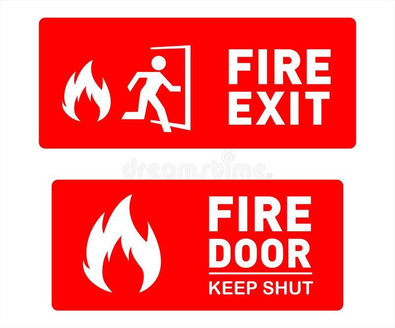 O molde do sinal da saída de emergência projeta - sinais e símbolos de segurança imprimíveis ilustração stock