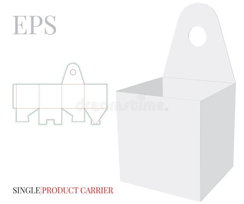 O molde do suporte do produto, vetor com cortado/laser cortou camadas Branco, claro, placa, zombaria isolada do portador do produ ilustração stock
