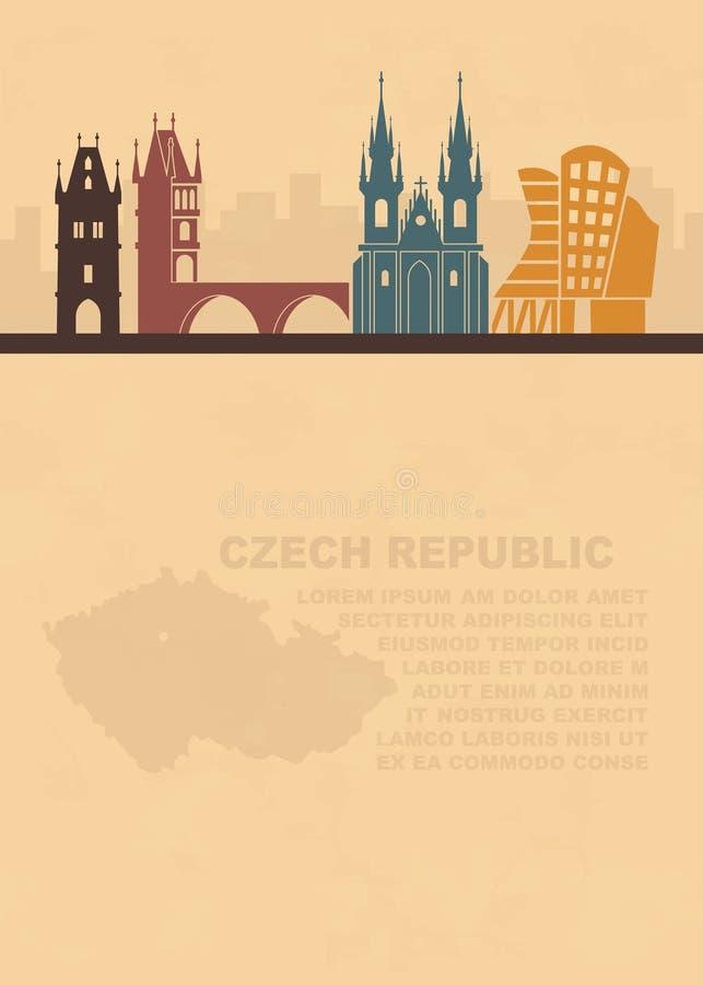 O molde dos folhetos com um mapa de República Checa e das atrações arquitetónicas de Praga ilustração stock