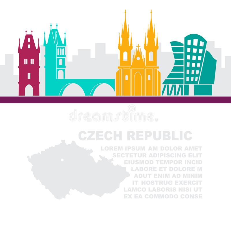O molde dos folhetos com um mapa de República Checa e das atrações arquitetónicas de Praga ilustração royalty free