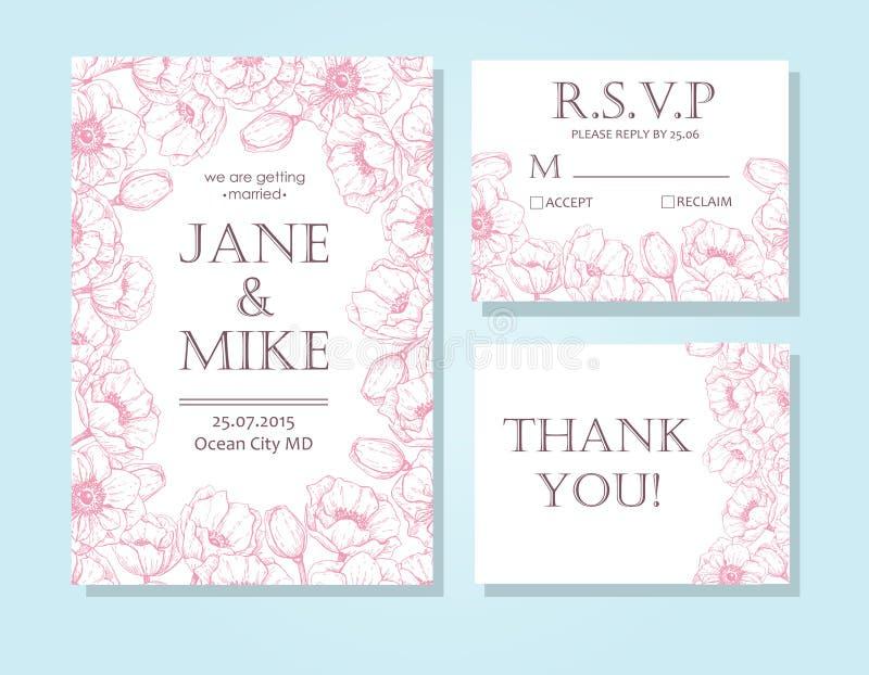 O molde elegante do cartão do convite do casamento do vintage ajustou-se com anemon ilustração royalty free
