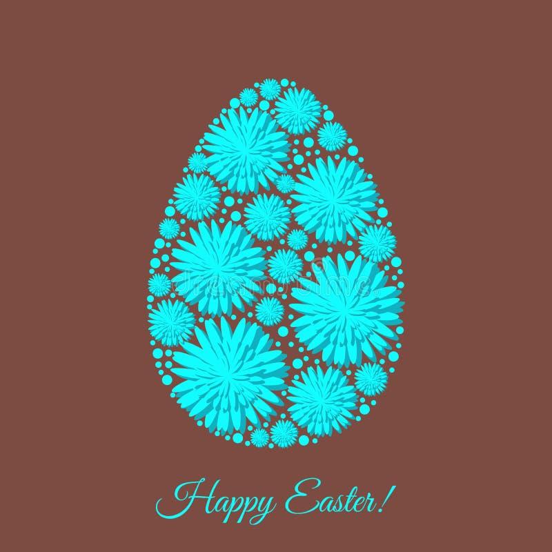 O molde feliz do cartão da Páscoa com flores decoradas egg ilustração royalty free