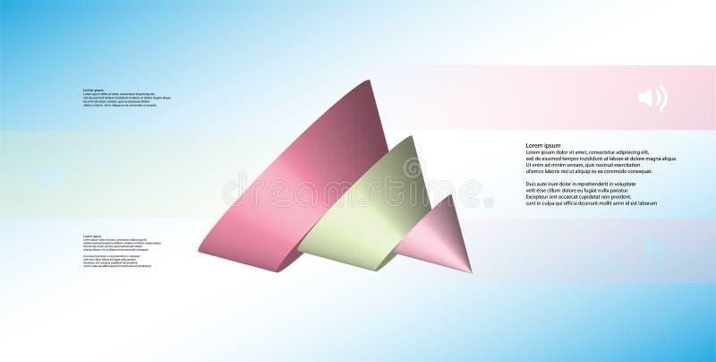 o molde infographic da ilustração 3D com o cone cortado a cinco derramou as peças ilustração do vetor