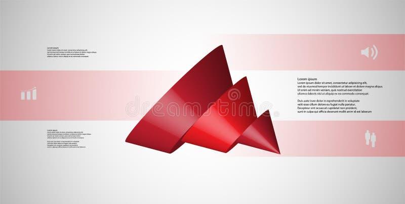 o molde infographic da ilustração 3D com o cone cortado a cinco derramou as peças ilustração stock