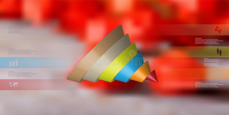 o molde infographic da ilustração 3D com o cone cortado a seis derramou as peças ilustração do vetor