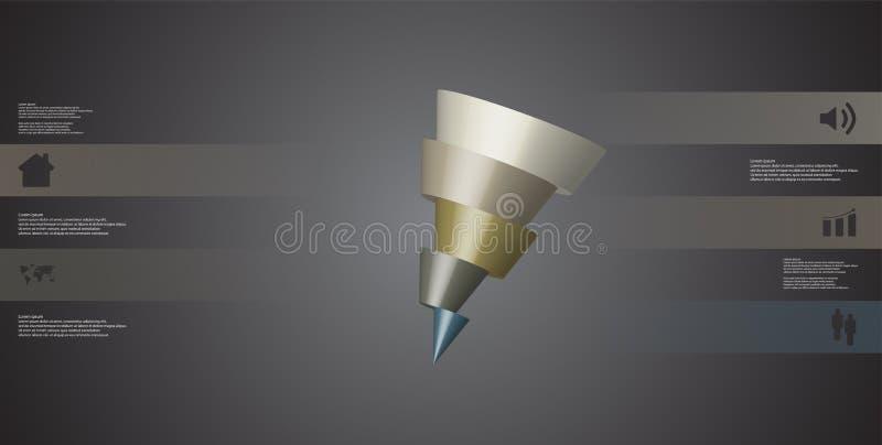 o molde infographic da ilustração 3D com o cone oblíquo cortado horizontalmente a cinco deslocou as peças ilustração do vetor