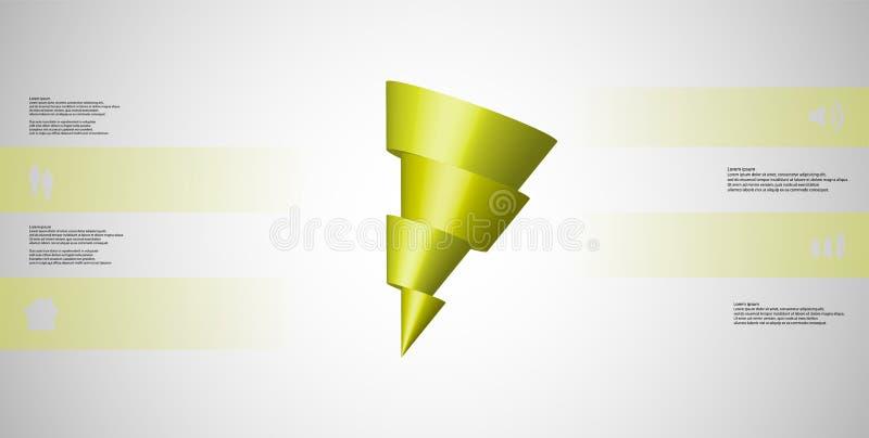 o molde infographic da ilustração 3D com o cone oblíquo cortado horizontalmente a quatro deslocou as peças ilustração royalty free