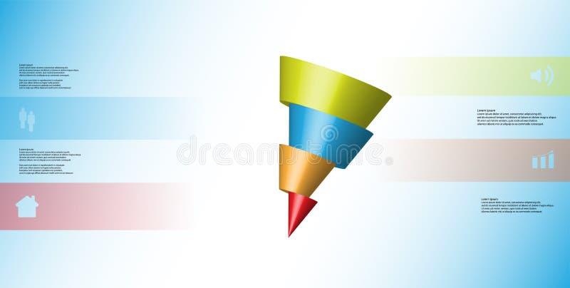 o molde infographic da ilustração 3D com o cone oblíquo cortado horizontalmente a quatro deslocou as peças ilustração do vetor