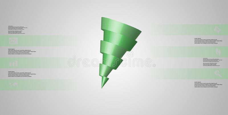 o molde infographic da ilustração 3D com o cone oblíquo cortado horizontalmente a seis deslocou as peças ilustração royalty free