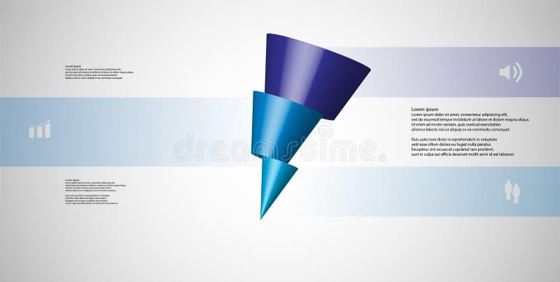 o molde infographic da ilustração 3D com o cone oblíquo cortado horizontalmente a três deslocou as peças ilustração do vetor