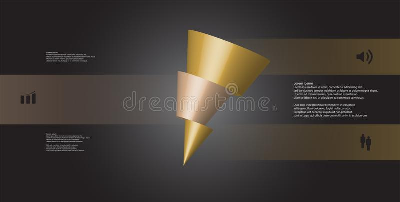 o molde infographic da ilustração 3D com o cone oblíquo cortado horizontalmente a três deslocou as peças ilustração royalty free