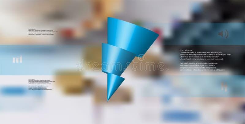 o molde infographic da ilustração 3D com o cone oblíquo cortado horizontalmente a três deslocou as peças ilustração stock