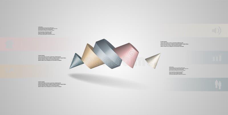 o molde infographic da ilustração 3D com dois cravou o cone dividido a cinco porções oblíquo arranjado ilustração royalty free