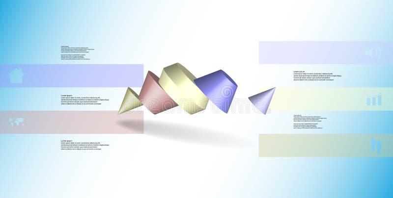 o molde infographic da ilustração 3D com dois cravou o cone dividido a cinco porções oblíquo arranjado ilustração stock