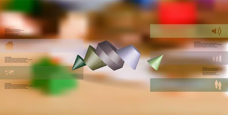 o molde infographic da ilustração 3D com dois cravou o cone dividido a cinco porções oblíquo arranjado ilustração do vetor