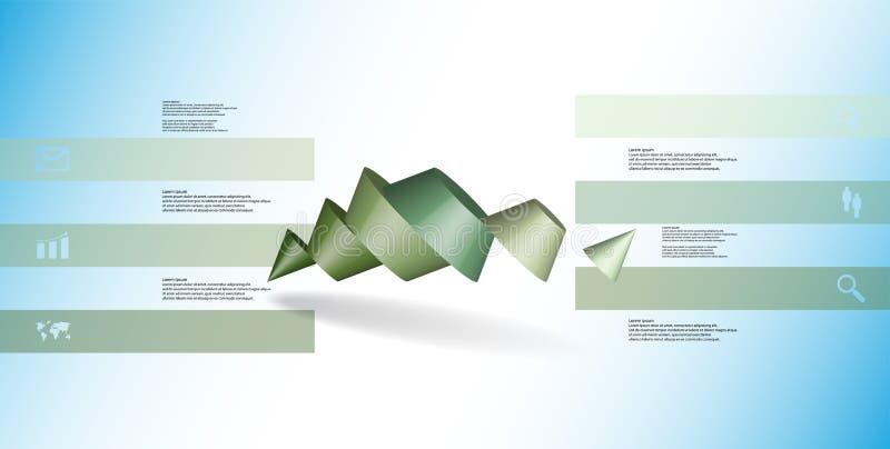 o molde infographic da ilustração 3D com dois cravou o cone dividido a seis porções oblíquo arranjado ilustração royalty free