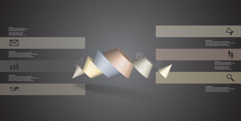 o molde infographic da ilustração 3D com dois cravou o cone dividido a seis porções oblíquo arranjado ilustração stock