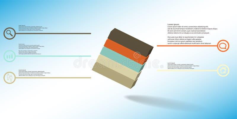 o molde infographic da ilustra??o 3D com cubo gravado arranjou obliquamente dividido a cinco por??es ilustração stock