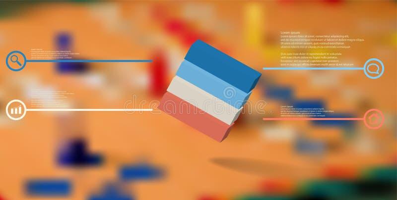 o molde infographic da ilustra??o 3D com cubo gravado arranjou obliquamente dividido a quatro por??es ilustração royalty free