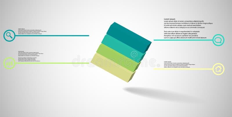 o molde infographic da ilustra??o 3D com cubo gravado arranjou obliquamente dividido a quatro por??es ilustração do vetor