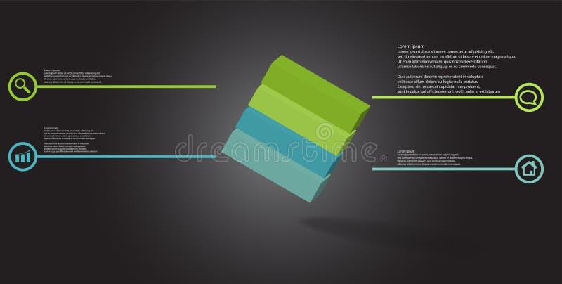 o molde infographic da ilustra??o 3D com cubo gravado arranjou obliquamente dividido a quatro por??es ilustração stock