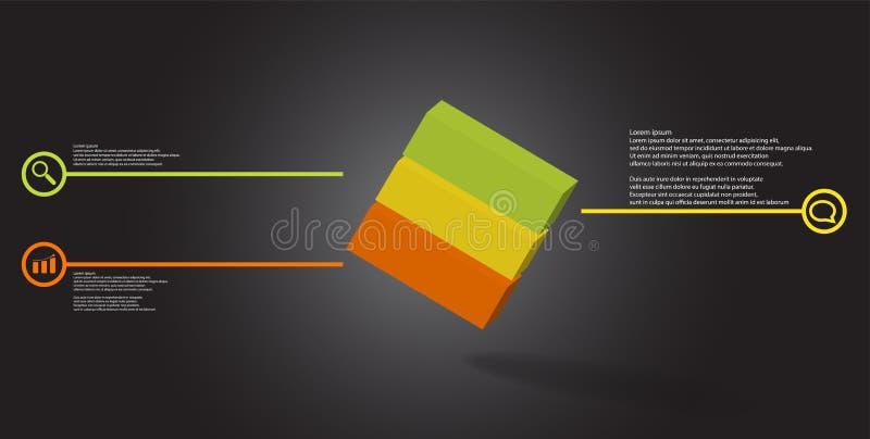 o molde infographic da ilustra??o 3D com cubo gravado arranjou obliquamente dividido a tr?s por??es ilustração stock