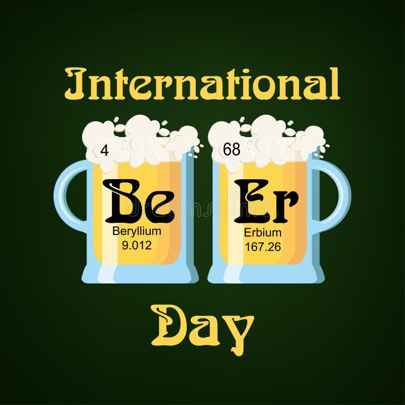 O molde internacional do cartão do dia da cerveja com dois vidros de cerveja e cervejas da palavra feitas de elementos químicos s ilustração royalty free