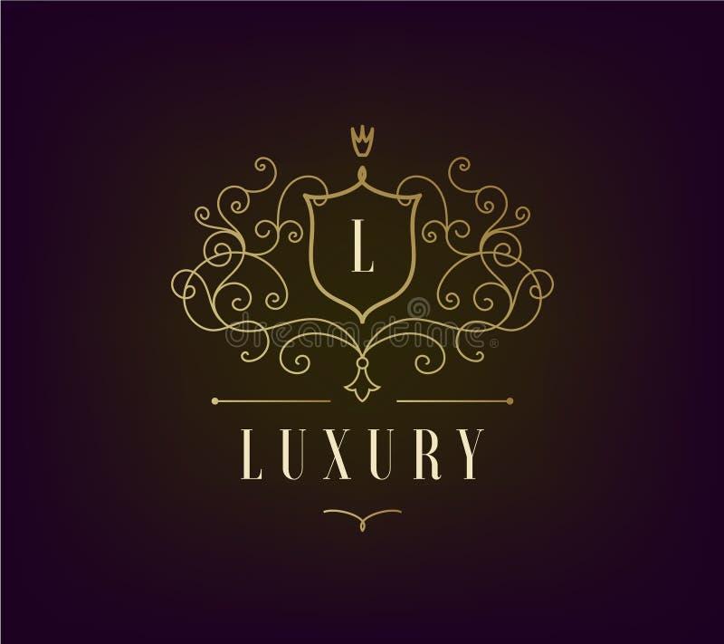 O molde luxuoso do logotipo do vetor floresce com linhas elegantes caligráficas do ornamento ilustração stock
