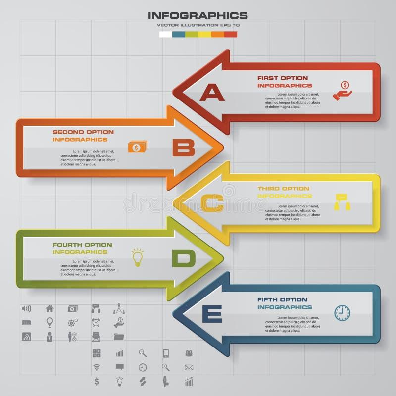 O molde moderno da seta de 5 etapas/pode ser usado para o infographics/bandeiras numeradas ilustração do vetor