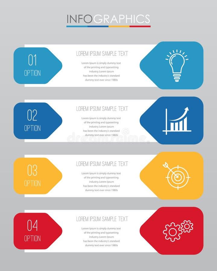 O molde moderno do Informação-gráfico para o negócio com projeto da multi-cor de quatro etapas, etiquetas projeta, elemento do in ilustração do vetor