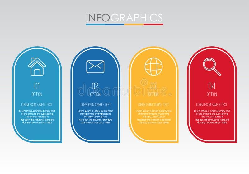 O molde moderno do Informação-gráfico para o negócio com projeto da multi-cor de quatro etapas, etiquetas projeta, elemento do in ilustração stock