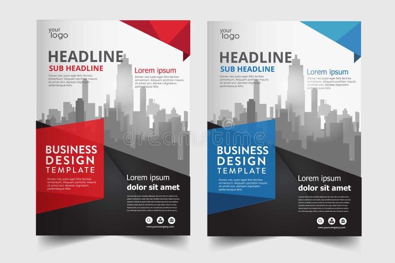 O molde moderno do projeto a4 do inseto do folheto do negócio ajustou-se com 2 cores ilustração stock
